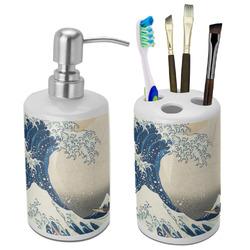 Great Wave off Kanagawa Bathroom Accessories Set (Ceramic)