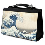 Great Wave of Kanagawa Classic Tote Purse w/ Leather Trim