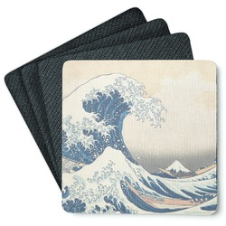 Great Wave of Kanagawa 4 Square Coasters - Rubber Backed
