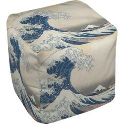 """Great Wave of Kanagawa Cube Pouf Ottoman - 18"""""""