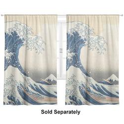 "Great Wave of Kanagawa Curtains - 40""x54"" Panels - Unlined (2 Panels Per Set)"