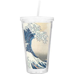 Great Wave of Kanagawa Double Wall Tumbler with Straw