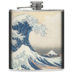 Great Wave of Kanagawa Genuine Leather Flask