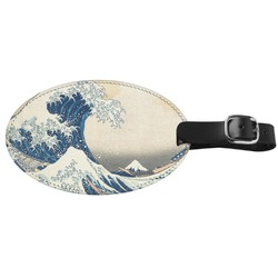 Great Wave of Kanagawa Genuine Leather Oval Luggage Tag