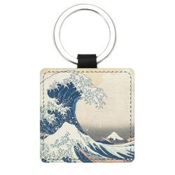 Great Wave of Kanagawa Genuine Leather Rectangular Keychain
