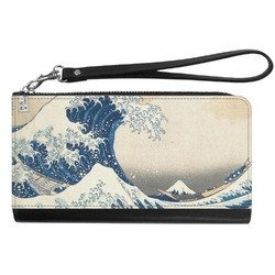 Great Wave of Kanagawa Genuine Leather Smartphone Wrist Wallet