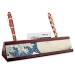 Great Wave off Kanagawa Red Mahogany Nameplate with Business Card Holder