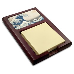 Great Wave of Kanagawa Red Mahogany Sticky Note Holder