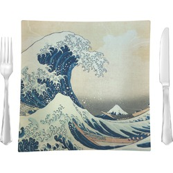 "Great Wave of Kanagawa 9.5"" Glass Square Lunch / Dinner Plate- Single or Set of 4"