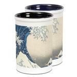 Great Wave off Kanagawa Ceramic Pencil Holder - Large
