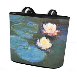 Water Lilies #2 Bucket Tote w/ Genuine Leather Trim