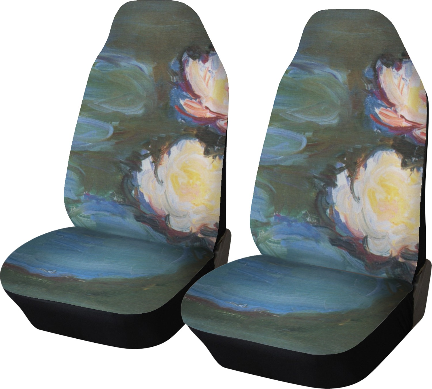 Water Lilies 2 Car Seat Covers Set Of Two