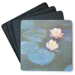 Water Lilies #2 4 Square Coasters - Rubber Backed