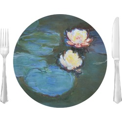 "Water Lilies #2 10"" Glass Lunch / Dinner Plates - Single or Set"