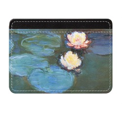 Water Lilies #2 Genuine Leather Front Pocket Wallet