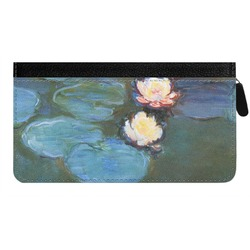 Water Lilies #2 Genuine Leather Ladies Zippered Wallet