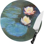 Water Lilies #2 Round Glass Cutting Board