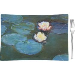 Water Lilies #2 Rectangular Glass Appetizer / Dessert Plate - Single or Set