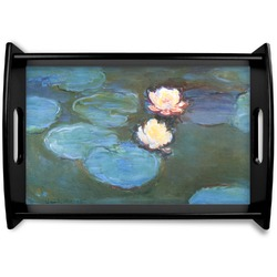 Water Lilies #2 Black Wooden Tray