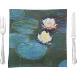 "Water Lilies #2 9.5"" Glass Square Lunch / Dinner Plate- Single or Set of 4"