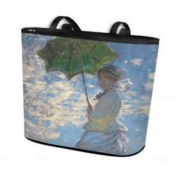 Promenade Woman by Claude Monet Bucket Tote w/ Genuine Leather Trim