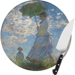 Promenade Woman by Claude Monet Round Glass Cutting Board