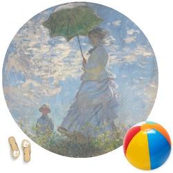 Promenade Woman by Claude Monet Round Beach Towel