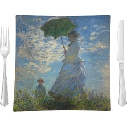 "Promenade Woman by Claude Monet 9.5"" Glass Square Lunch / Dinner Plate- Single or Set of 4"