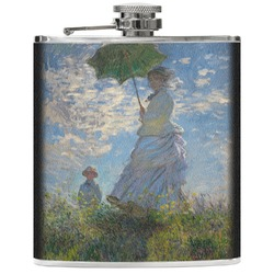 Promenade Woman by Claude Monet Genuine Leather Flask