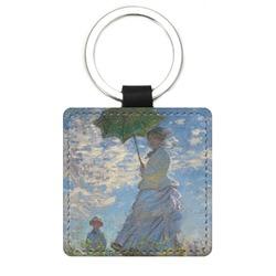Promenade Woman by Claude Monet Genuine Leather Rectangular Keychain