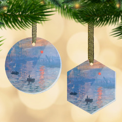 Impression Sunrise by Claude Monet Flat Glass Ornament