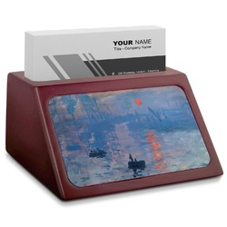 Impression Sunrise by Claude Monet Red Mahogany Business Card Holder
