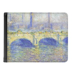 Waterloo Bridge by Claude Monet Genuine Leather Men's Bi-fold Wallet
