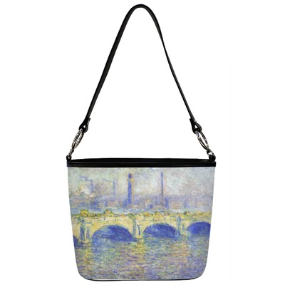 Waterloo Bridge by Claude Monet Bucket Bag w/ Genuine Leather Trim