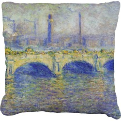 Waterloo Bridge by Claude Monet Faux-Linen Throw Pillow