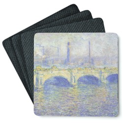 Waterloo Bridge by Claude Monet 4 Square Coasters - Rubber Backed