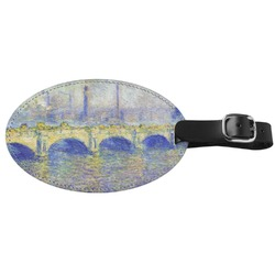 Waterloo Bridge by Claude Monet Genuine Leather Luggage Tag