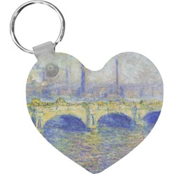 Waterloo Bridge by Claude Monet Heart Keychain