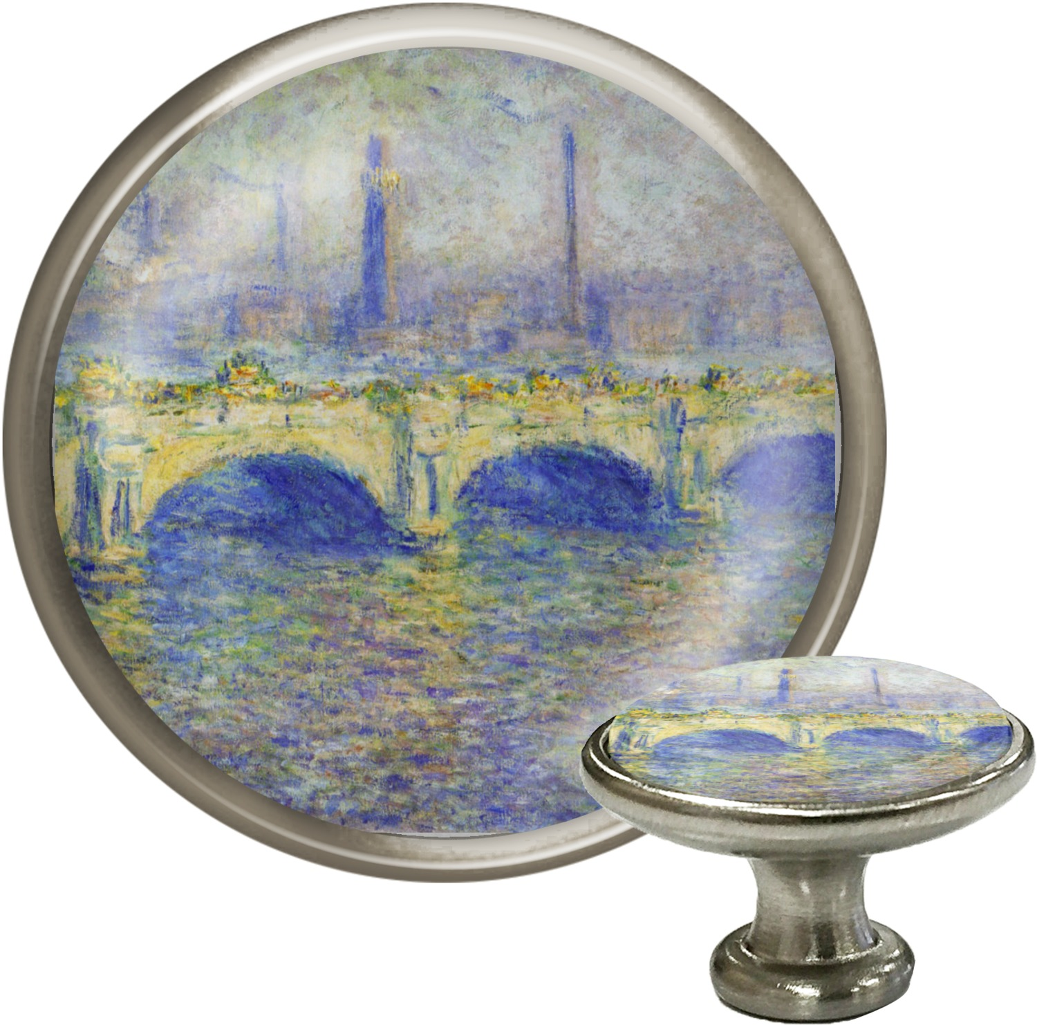 Waterloo Bridge By Claude Monet Cabinet Knob (Silver