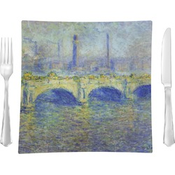 "Waterloo Bridge by Claude Monet 9.5"" Glass Square Lunch / Dinner Plate- Single or Set of 4"