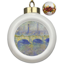 Waterloo Bridge by Claude Monet Ceramic Ball Ornaments - Poinsettia Garland
