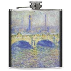 Waterloo Bridge by Claude Monet Genuine Leather Flask