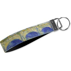 Waterloo Bridge by Claude Monet Wristlet Webbing Keychain Fob