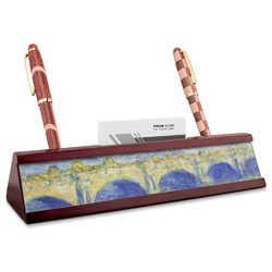 Waterloo Bridge by Claude Monet Red Mahogany Nameplate with Business Card Holder