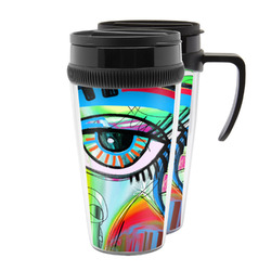 Abstract Eye Painting Acrylic Travel Mugs