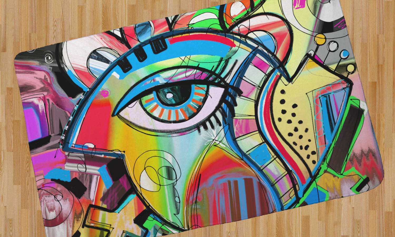 Abstract Eye Painting Area Rug Youcustomizeit