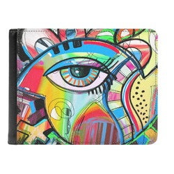 Abstract Eye Painting Genuine Leather Men's Bi-fold Wallet