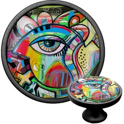 Abstract Eye Painting Cabinet Knob (Black)