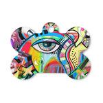 Abstract Eye Painting Bone Shaped Dog Tag