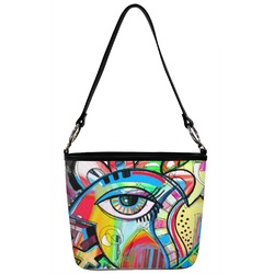 Abstract Eye Painting Bucket Bag w/ Genuine Leather Trim